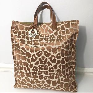Vintage FENDI Leopard Animal Print Tote Bag Canvas